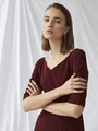 V-NECK MERMAID TRIM DRESS