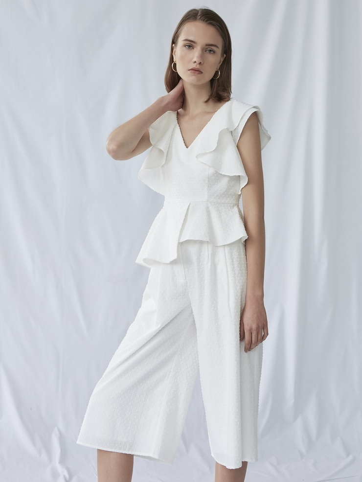 TEXTURED COTTON CULOTTES