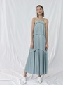 TIERED PLEATED MAXI DRESS