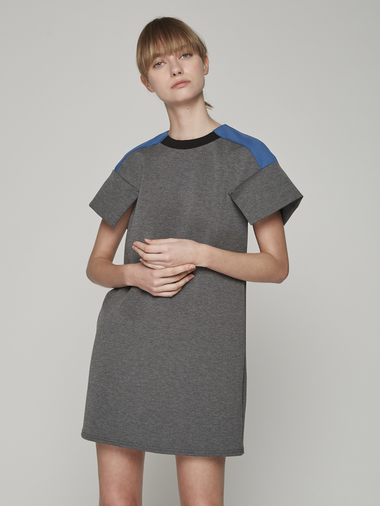 COLOURBLOCK BOXY KNIT DRESS