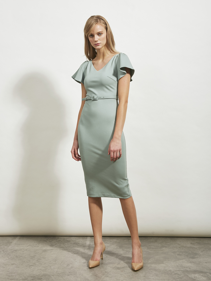 Flounced Sleeve Fitted Dress
