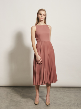 Sunray Pleat Midi Dress