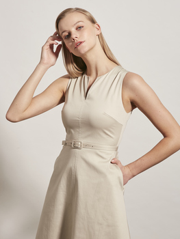 Notch-Neck Cotton Dress
